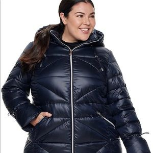 Nine West Quilted Puffer Coat Navy Plus Size